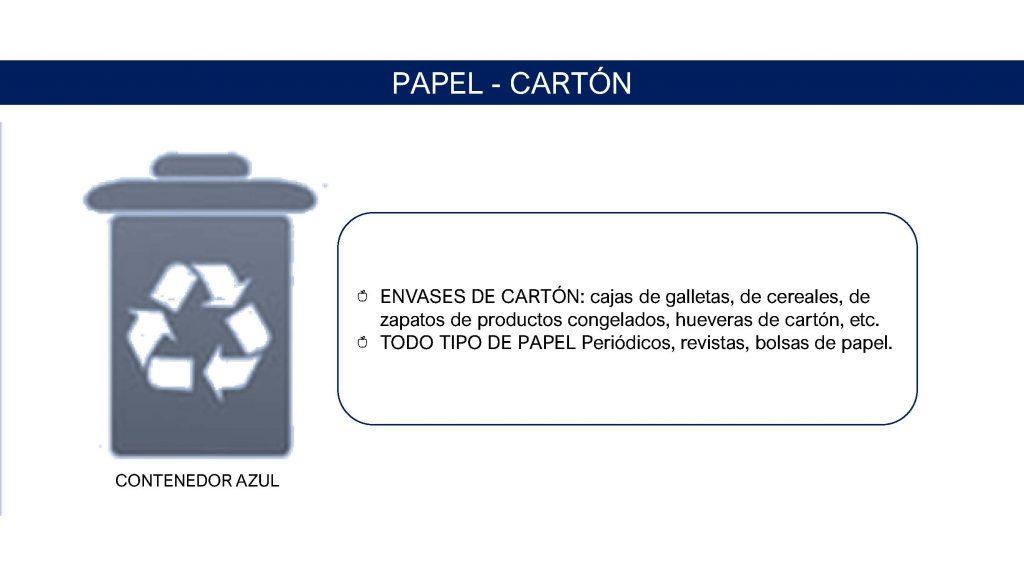 contenedor azul papel y cartón